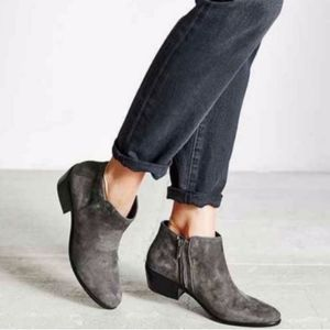SAM EDELMAN Gray Petty Suede Ankle Booties 5